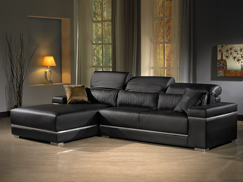 法式芬蒂功能沙發L型皮沙發